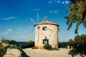Traditional greek old mill, Zakynthos. Greek island