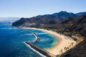 Amazing view of beach las Teresitas with yellow sand. Location: Santa Cruz de Tenerife, Tenerife