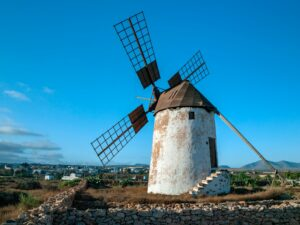 An old windmill on the island of Fuerteventura in the Spanish Canary Islands in the North Atlantic.